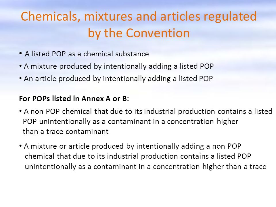 Chemicals, mixtures and articles regulated by the Convention