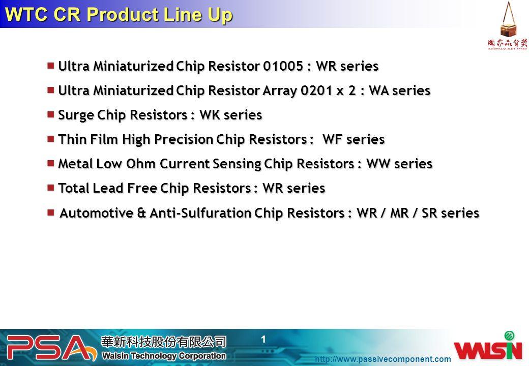 WTC CR Product Line Up ■ Ultra Miniaturized Chip Resistor 01005 : WR series. ■ Ultra Miniaturized Chip Resistor Array 0201 x 2 : WA series.