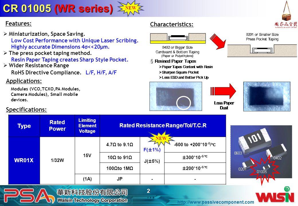 Rated Resistance Range/Tol/T.C.R