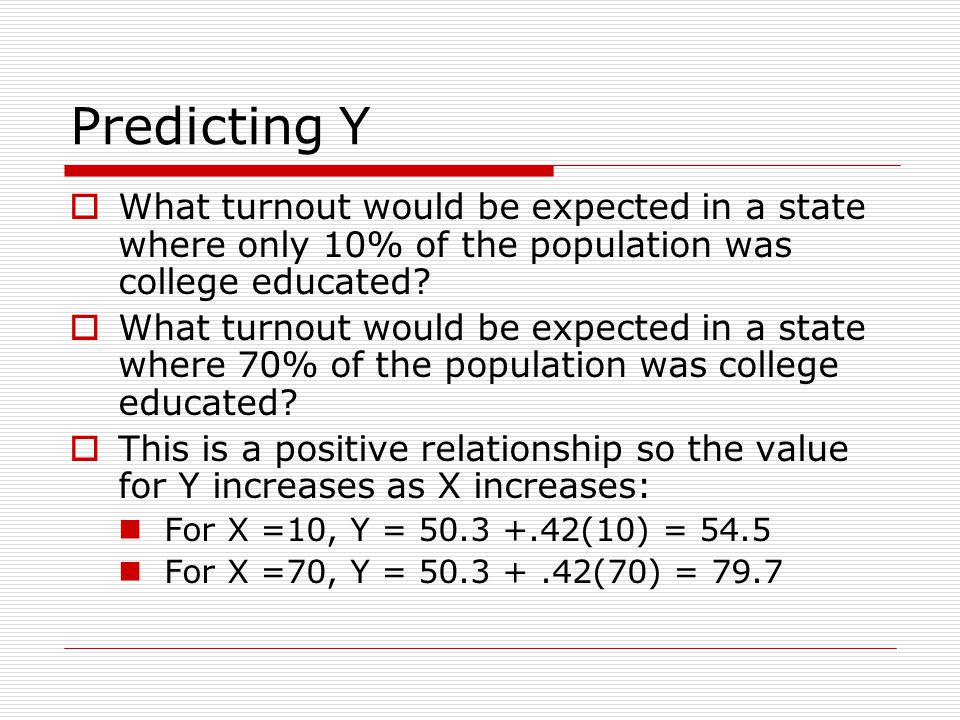 Predicting Y What turnout would be expected in a state where only 10% of the population was college educated