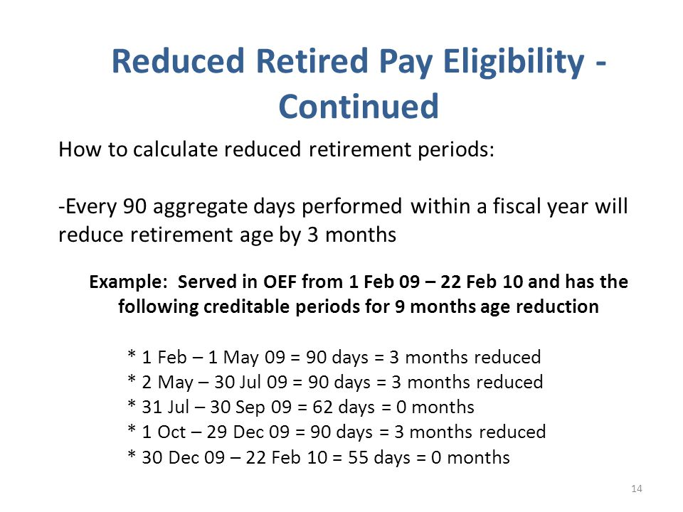 Reduced Retired Pay Eligibility - Continued
