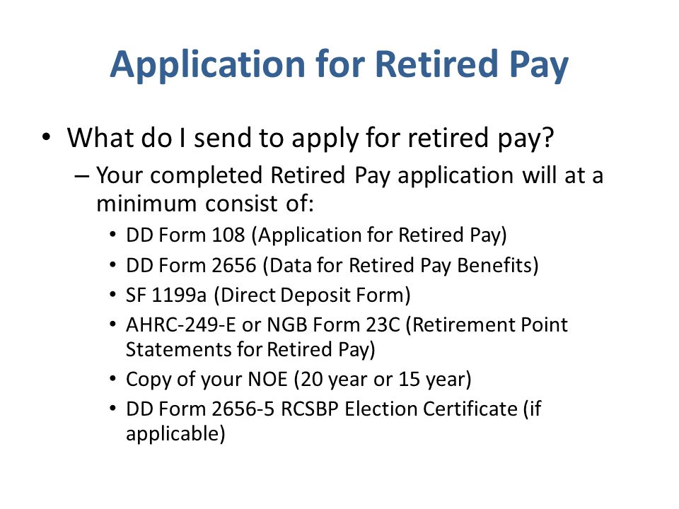 Application for Retired Pay