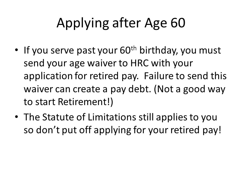 Applying after Age 60