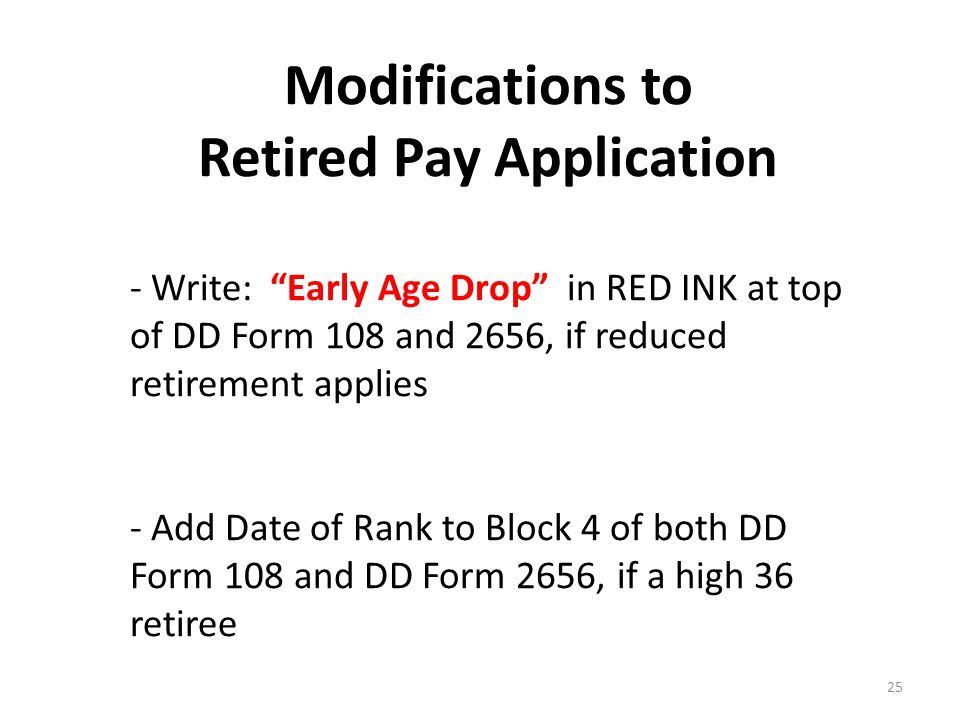 Modifications to Retired Pay Application