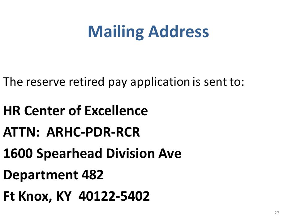 Mailing Address HR Center of Excellence ATTN: ARHC-PDR-RCR