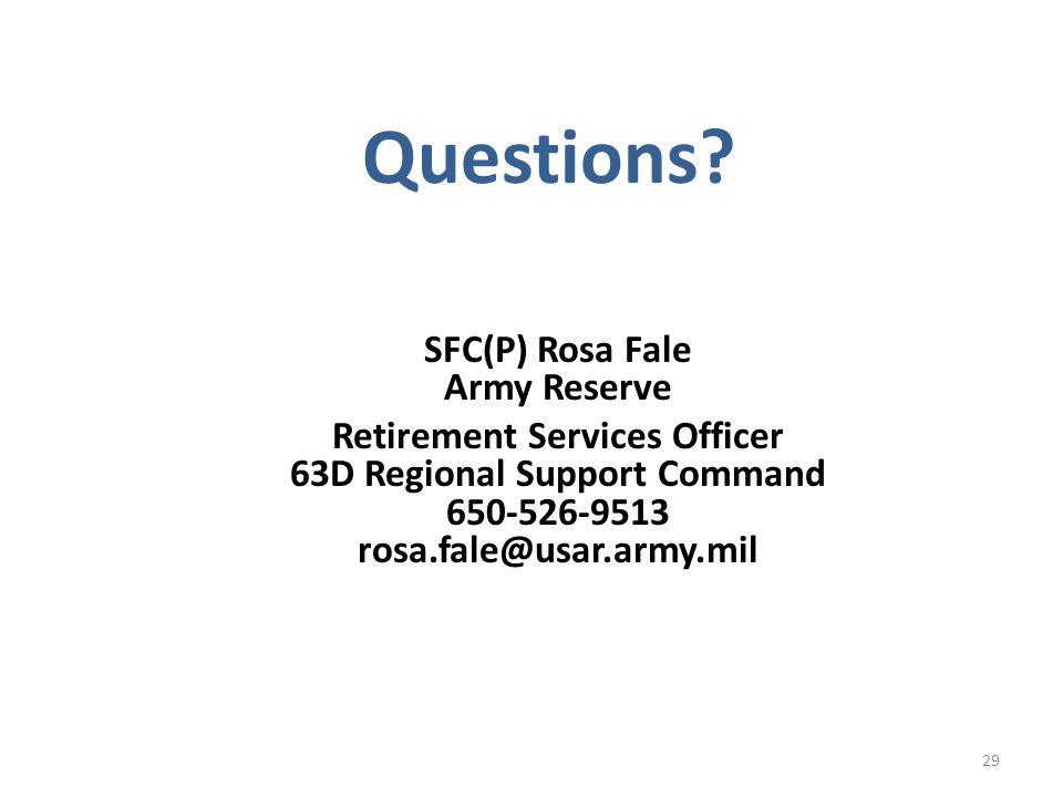 SFC(P) Rosa Fale Army Reserve
