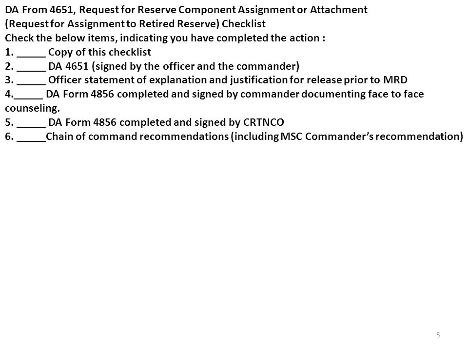 DA From 4651, Request for Reserve Component Assignment or Attachment