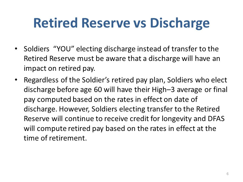 Retired Reserve vs Discharge