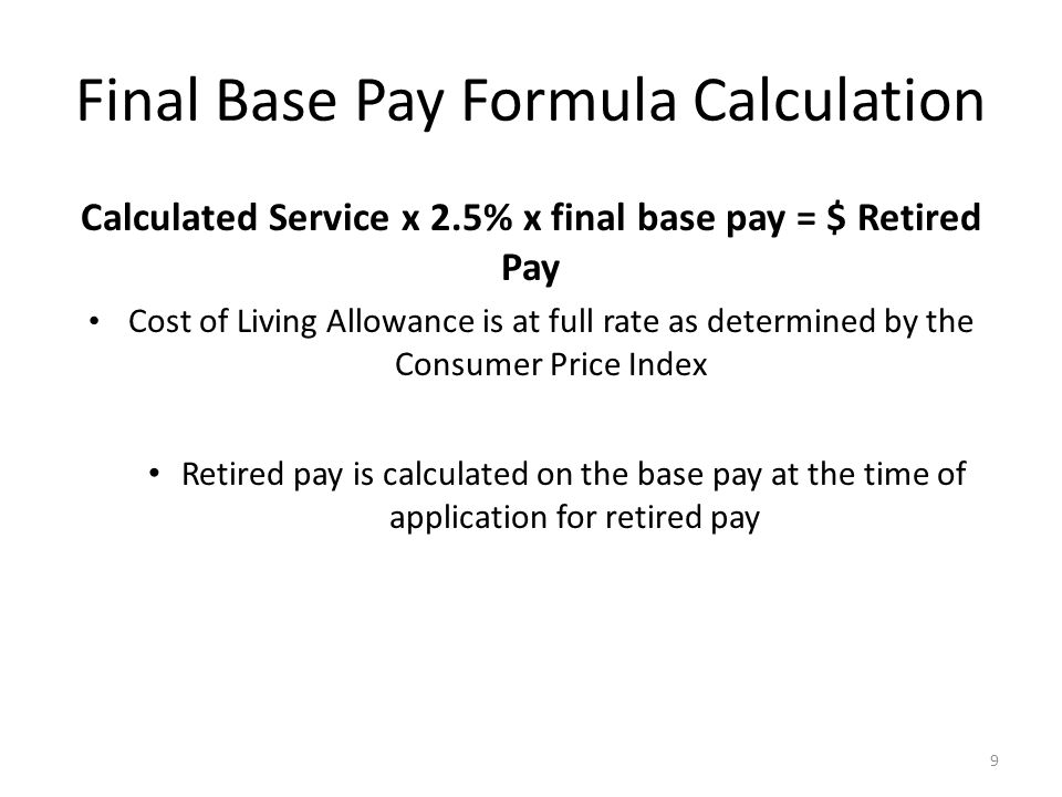 Final Base Pay Formula Calculation