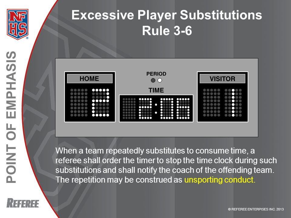 Excessive Player Substitutions Rule 3-6