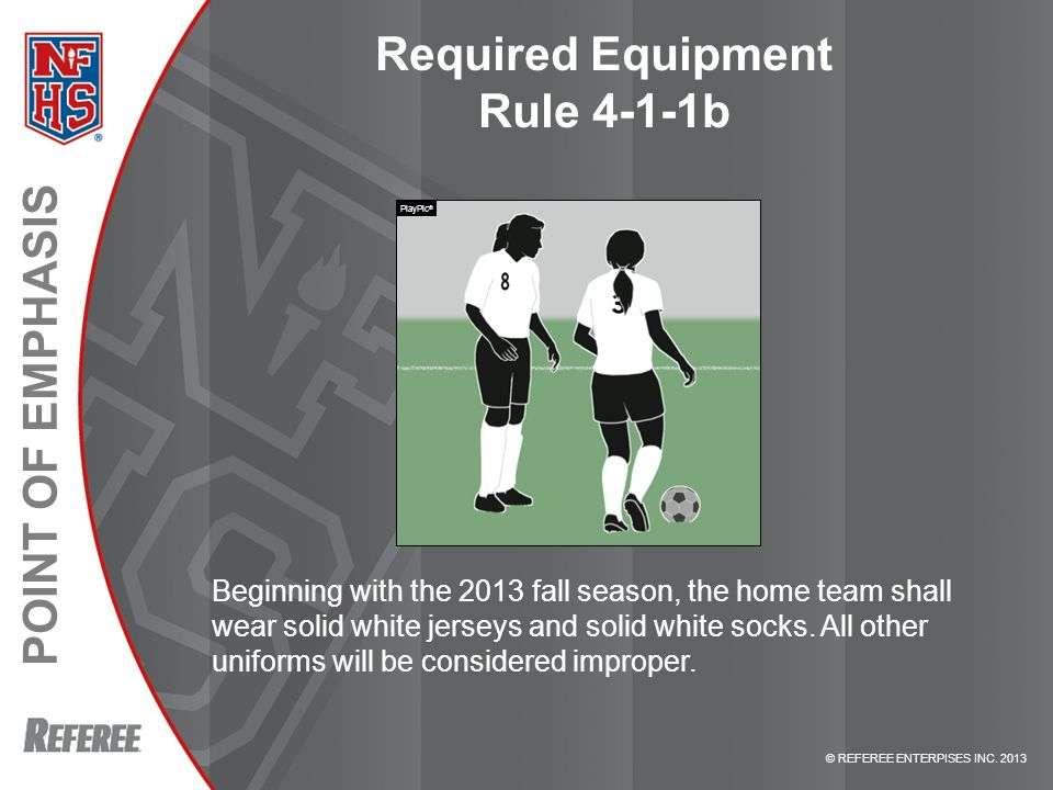 Required Equipment Rule 4-1-1b