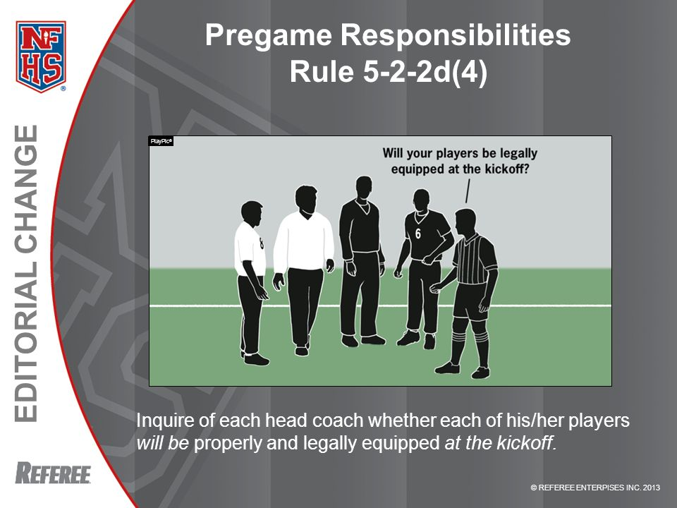 Pregame Responsibilities Rule 5-2-2d(4)