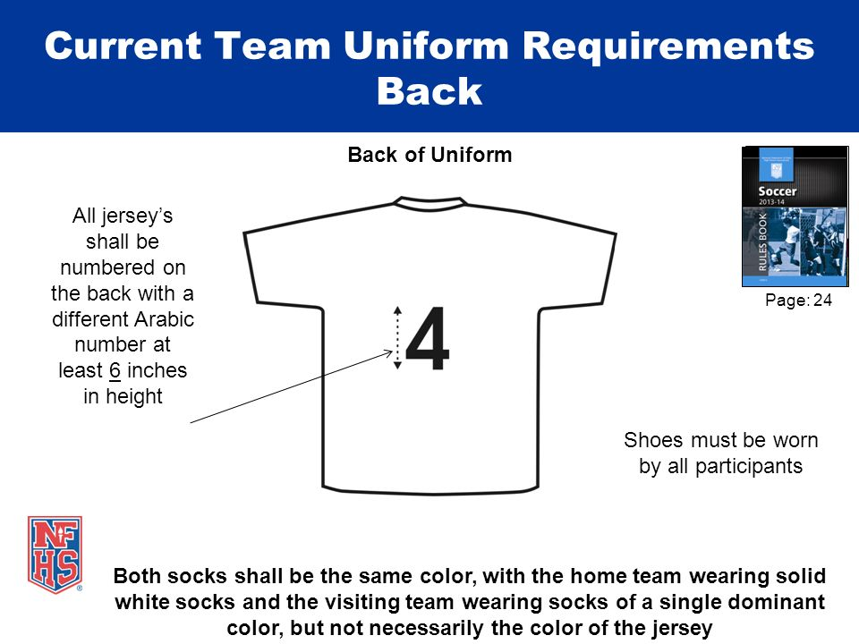 Current Team Uniform Requirements Back