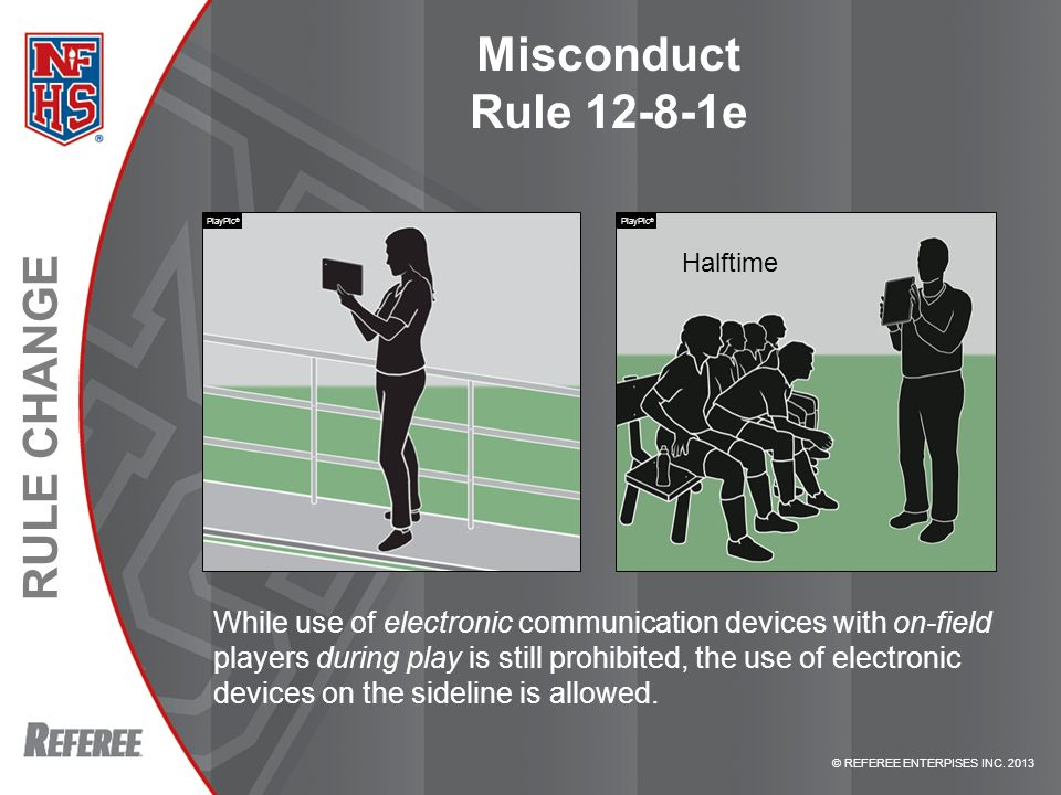 Misconduct Rule e PlayPic® PlayPic® Halftime. RULE e – MISCONDUCT.