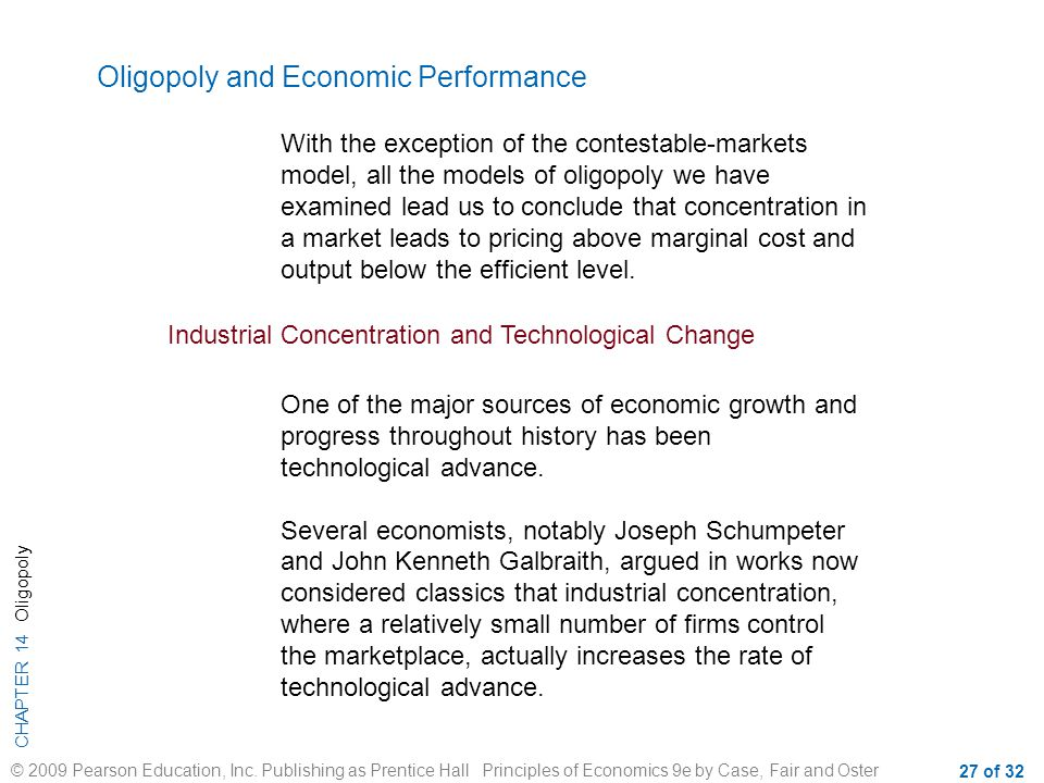 Oligopoly and Economic Performance