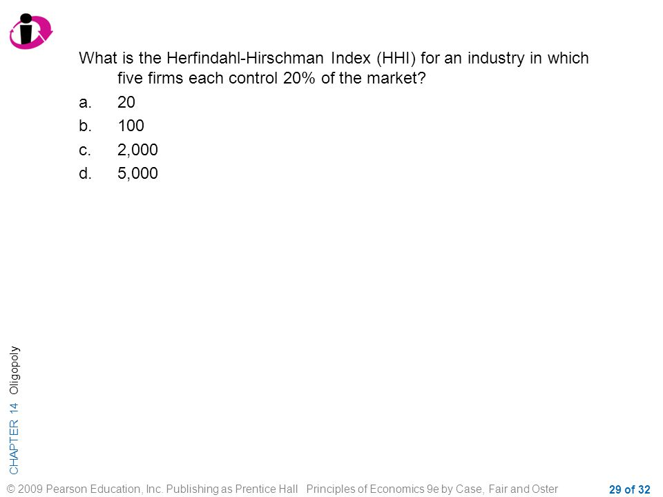 What is the Herfindahl-Hirschman Index (HHI) for an industry in which five firms each control 20% of the market