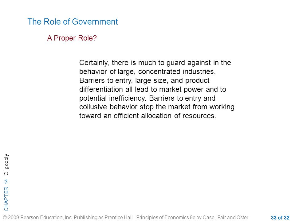 The Role of Government A Proper Role