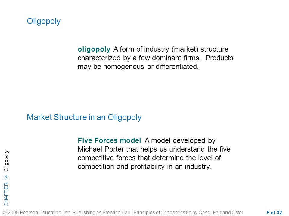 Market Structure in an Oligopoly