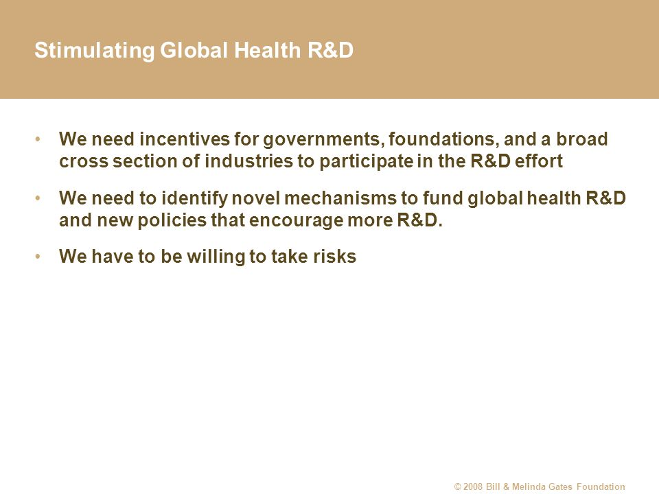 Stimulating Global Health R&D