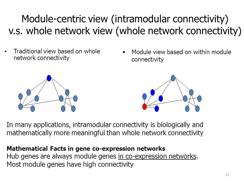 Module-centric view (intramodular connectivity) v. s