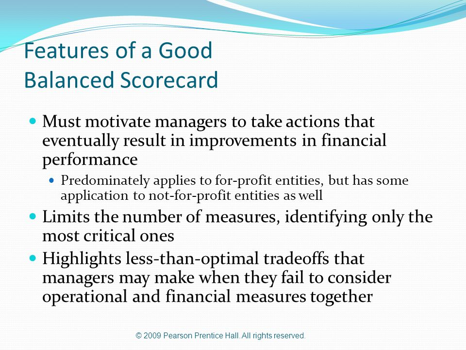 Features of a Good Balanced Scorecard