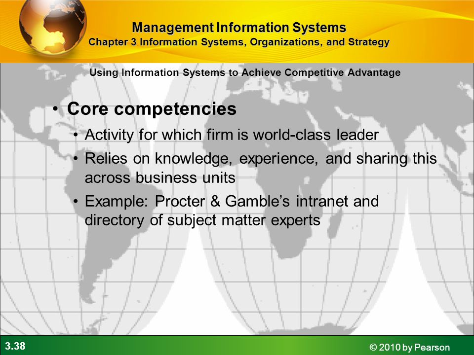 Core competencies Activity for which firm is world-class leader