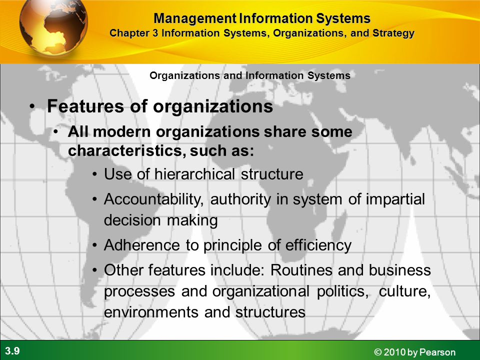 Features of organizations