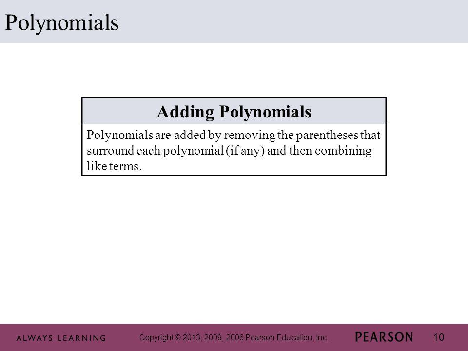 Polynomials Adding Polynomials