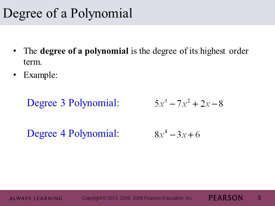 Degree of a Polynomial Degree 3 Polynomial: Degree 4 Polynomial: