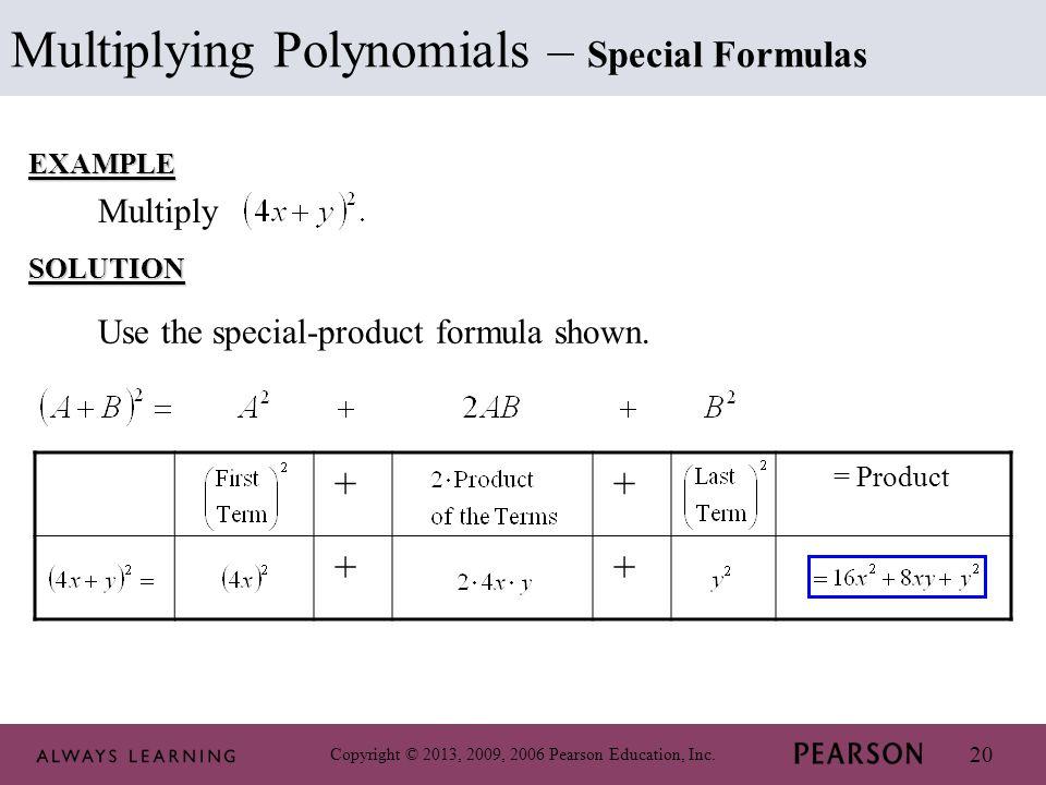 Multiplying Polynomials – Special Formulas