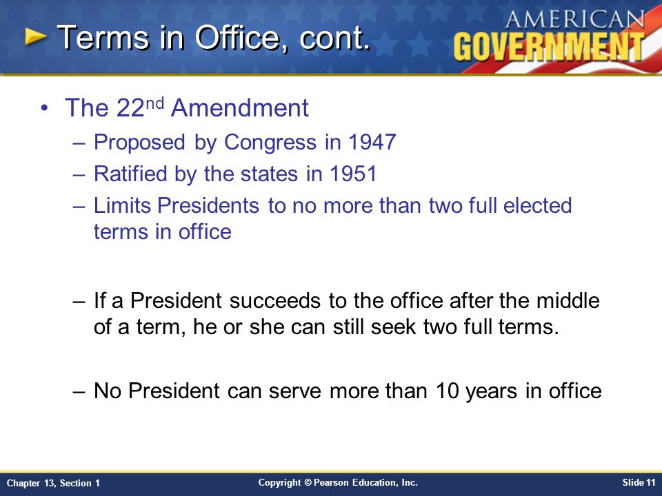 Terms in Office, cont. The 22nd Amendment Proposed by Congress in 1947