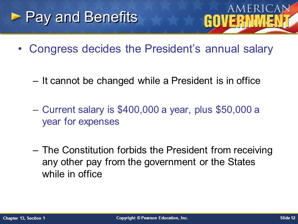 Pay and Benefits Congress decides the President's annual salary