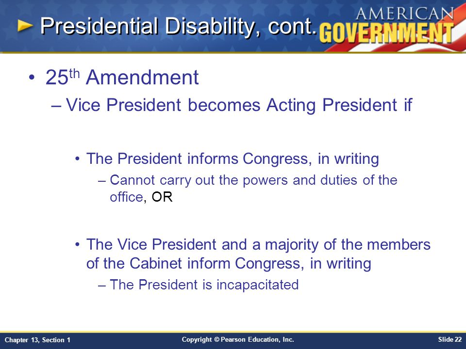 Presidential Disability, cont.