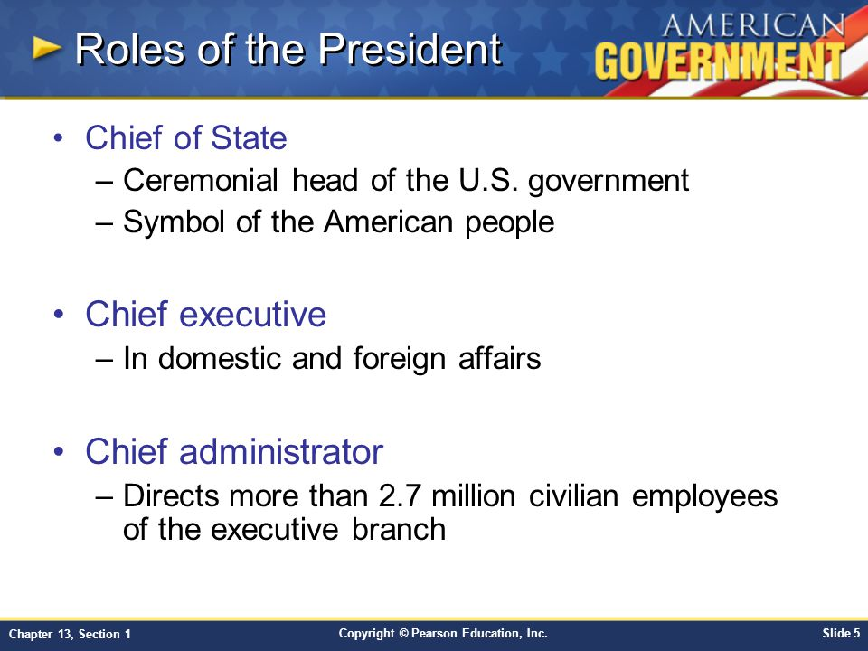 Roles of the President Chief executive Chief administrator