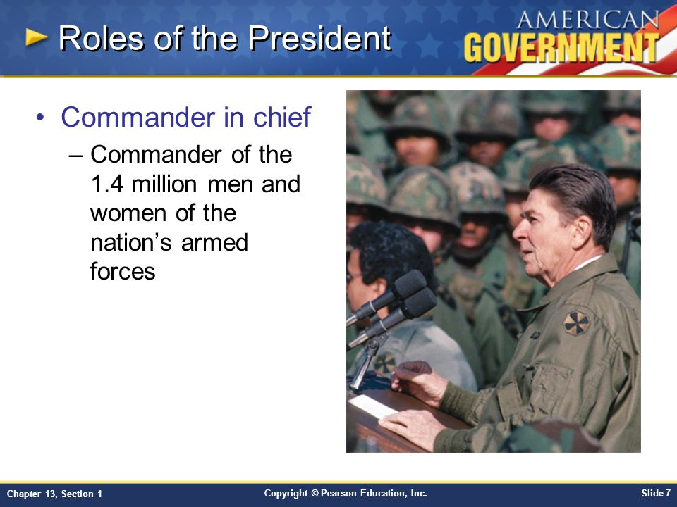 Roles of the President Commander in chief