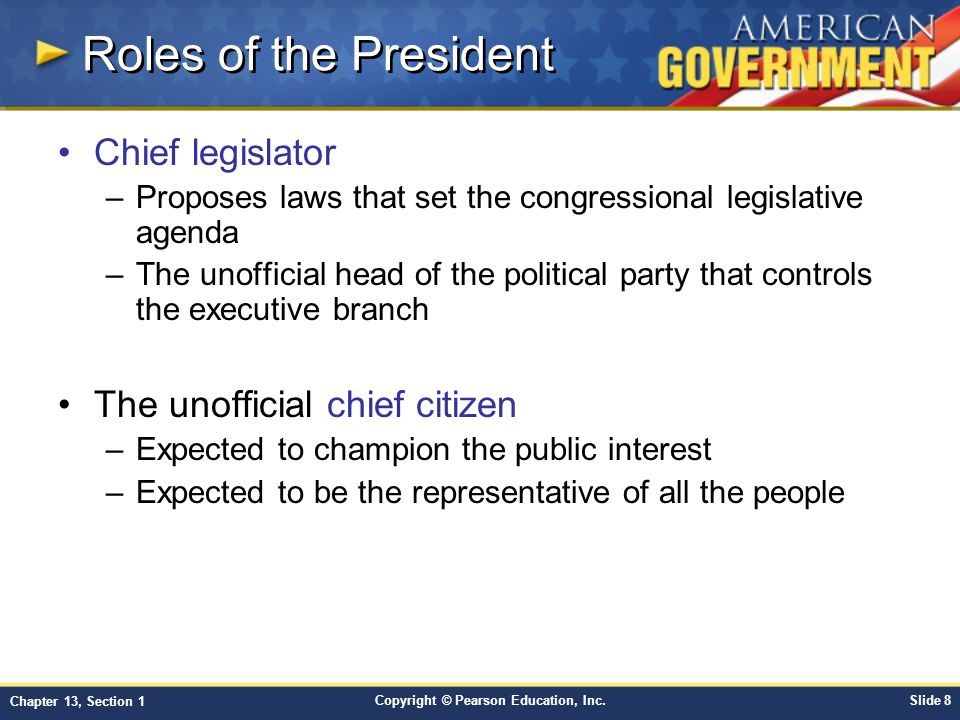Roles of the President Chief legislator The unofficial chief citizen