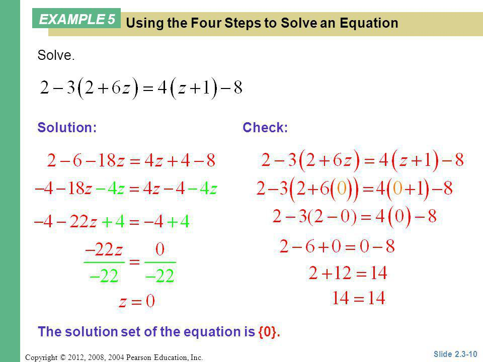 Using the Four Steps to Solve an Equation