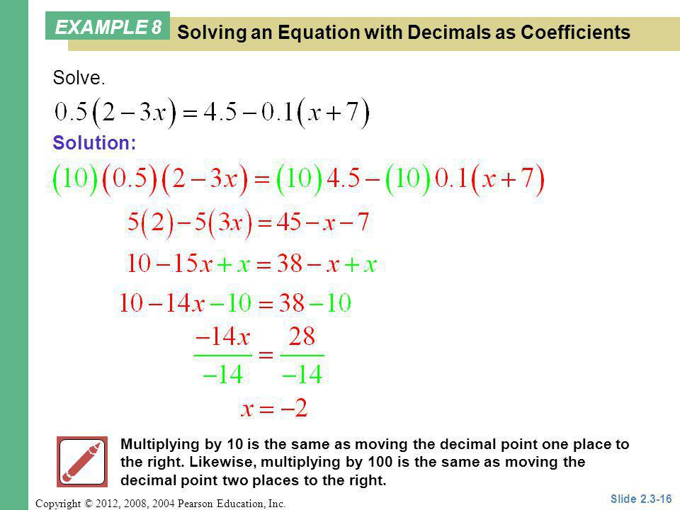 Solving an Equation with Decimals as Coefficients