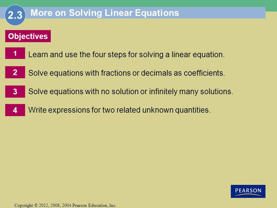 More on Solving Linear Equations