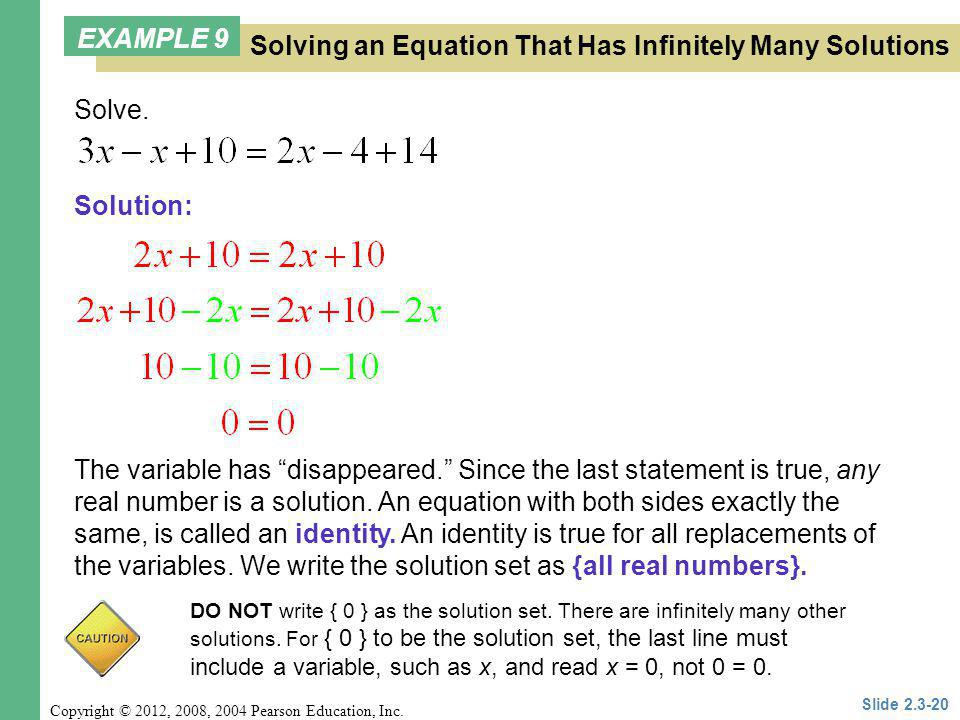 Solving an Equation That Has Infinitely Many Solutions