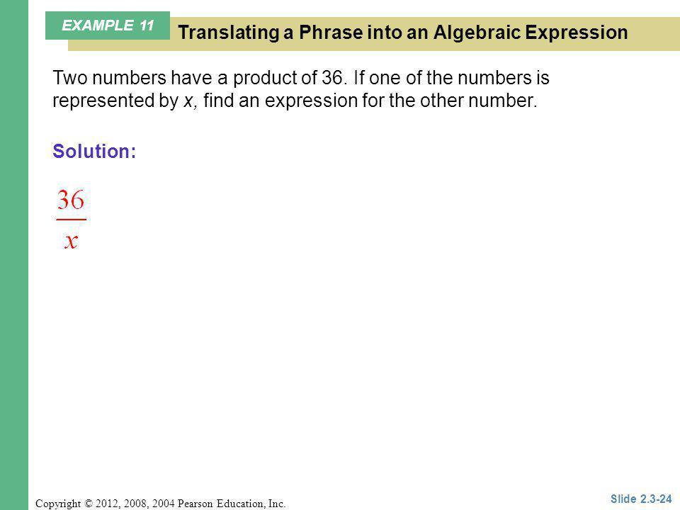 Translating a Phrase into an Algebraic Expression
