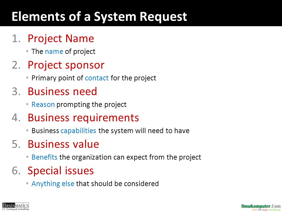Elements of a System Request