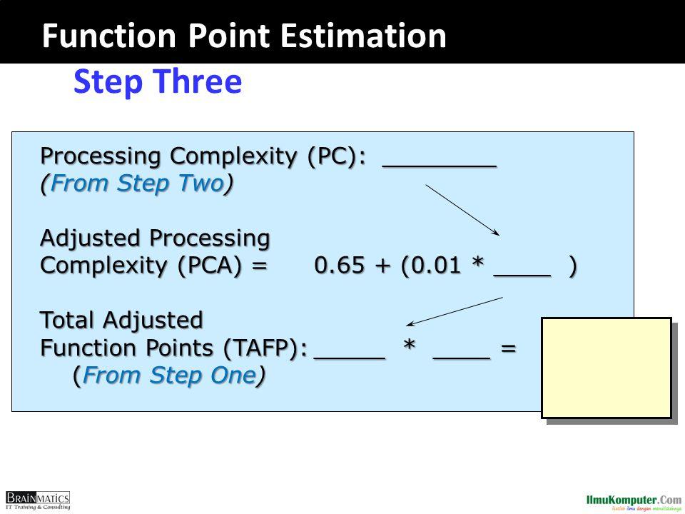 Function Point Estimation -- Step Three