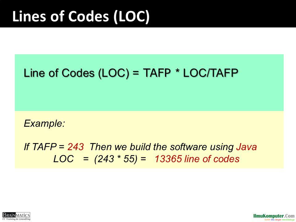 Lines of Codes (LOC) Line of Codes (LOC) = TAFP * LOC/TAFP Example: