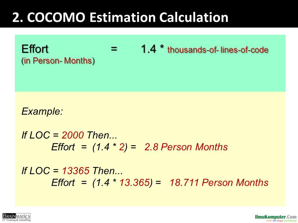 2. COCOMO Estimation Calculation