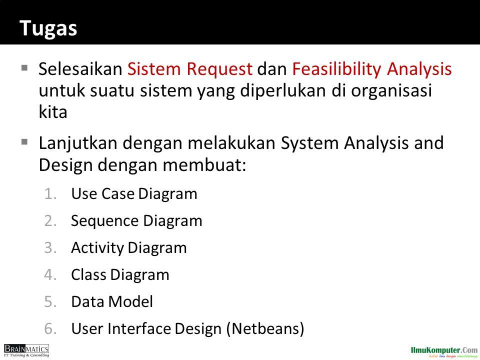 Tugas Selesaikan Sistem Request dan Feasilibility Analysis untuk suatu sistem yang diperlukan di organisasi kita.