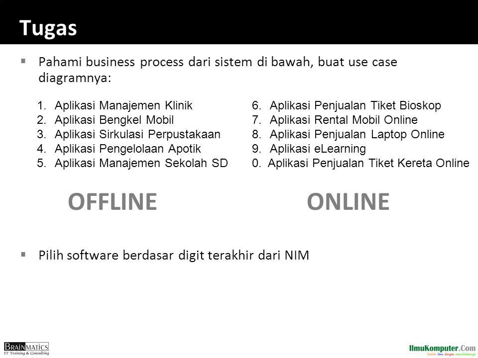 Tugas Pahami business process dari sistem di bawah, buat use case diagramnya: OFFLINE ONLINE. Pilih software berdasar digit terakhir dari NIM.