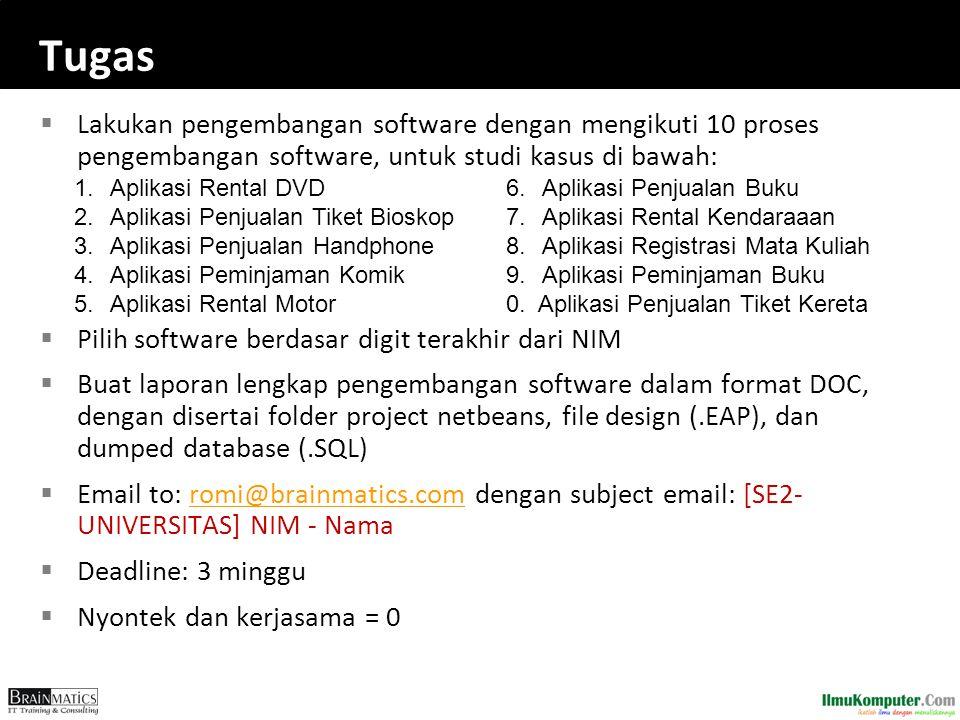 Tugas Lakukan pengembangan software dengan mengikuti 10 proses pengembangan software, untuk studi kasus di bawah: