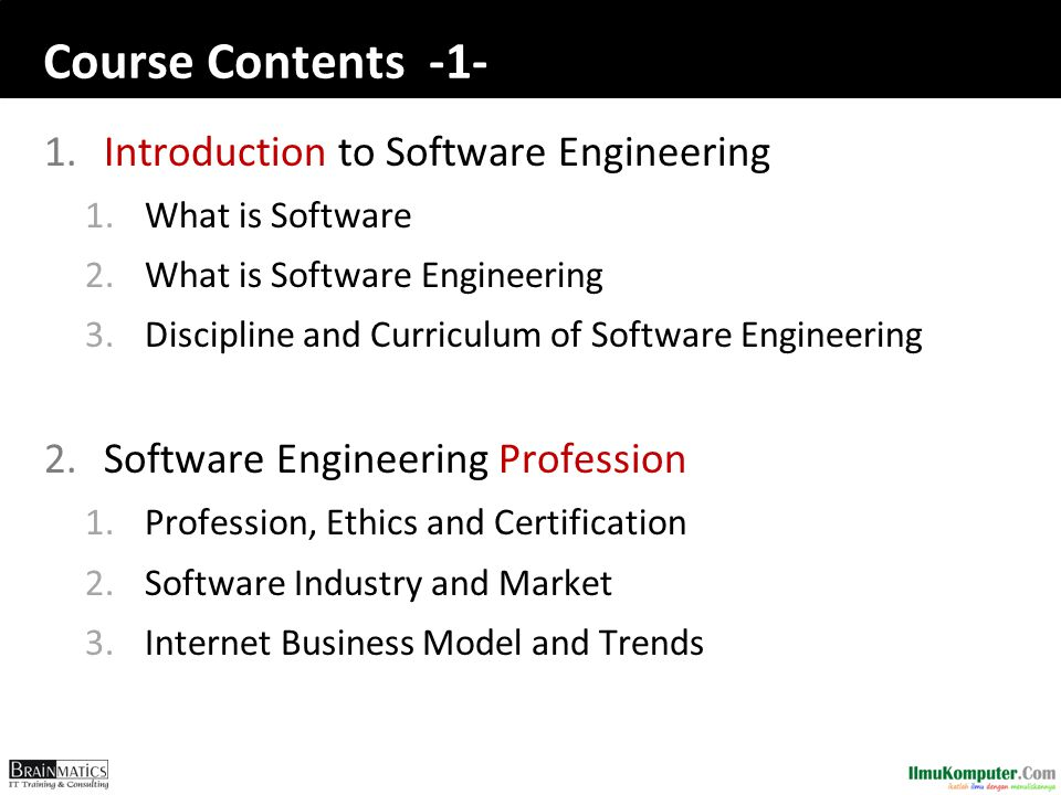 Course Contents -1- Introduction to Software Engineering