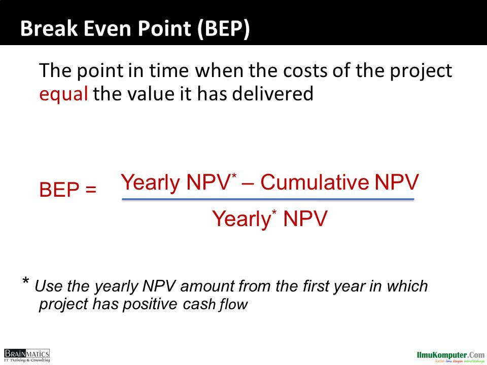 Yearly NPV* – Cumulative NPV